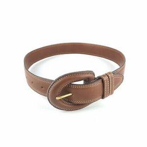 Coach British Tan Leather Double Stitched Belt